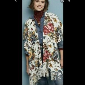 Anthropologie floral poncho scarf wrap fringed